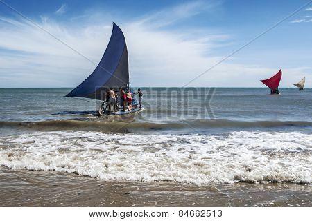 Jangadas, Small Fishing Boats On The Sea, Brazil