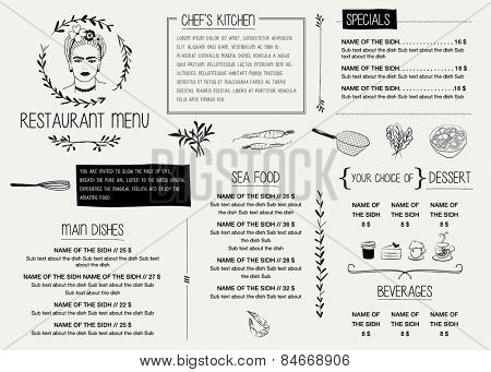 RESTAURANT MENU TEMPLATE. Vector illustration file with editable graphic design elements: typography, dividers, frames, illustrations, decorative elements, icons, symbols etc.