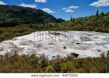 Scenic landscape view of Orakei Korako geothermal park, New Zealand, North Island poster