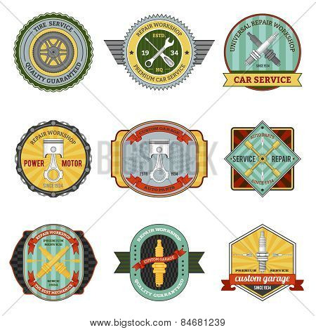 Repair auto repair mechanic transportation workshop retro badges set isolated vector illustration poster