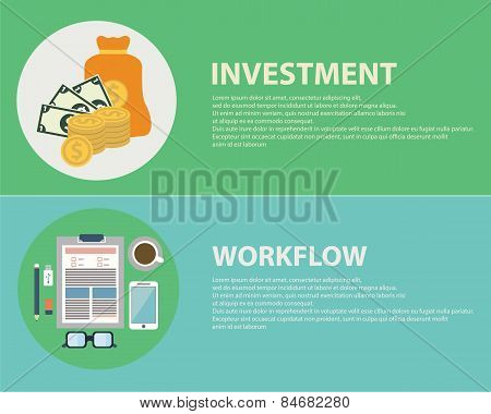Flat Design Concepts For Business, Finance, Strategic Management, Investment, Workflow, Consulting,