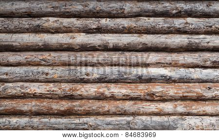 Wooden Log House Wall