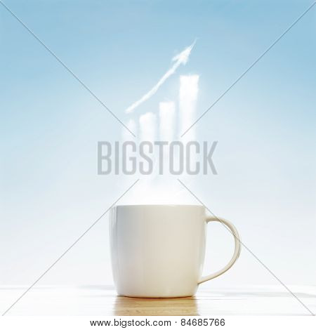 Coffee Cup With Business Graph Symbol