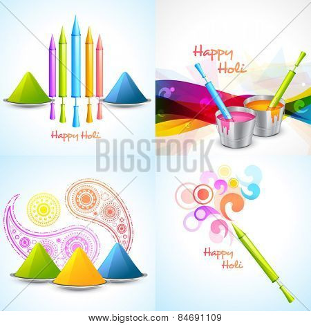 vector set of different colors of holi designs  with pichkari , gulal, bucket illustration