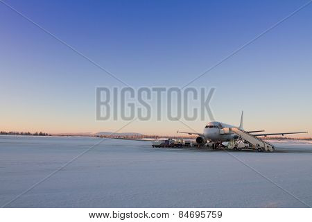 Plane Waiting For Passangers In Lapland, Finland