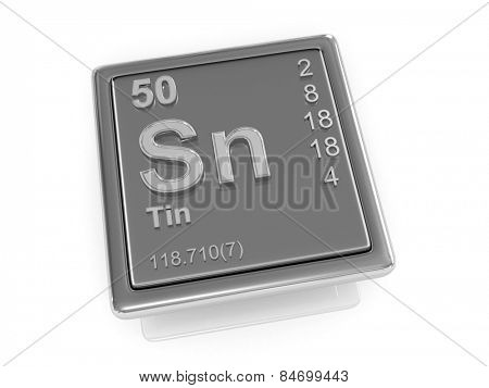 Tin. Chemical element. 3d poster