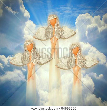 Three angels on the heaven. Spirituality concept. poster