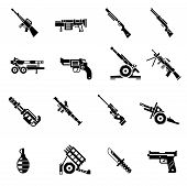 Weapon icons black set with bazooka ak47 gun rifle isolated vector illustration poster