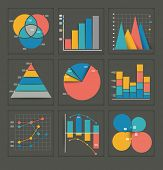 Set of colored vector business graphs in various designs showing a pyramid, pie chart, bar graph, overlapping circles, dots and interlocked depicting statistics, analysis, performance, and projections poster