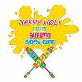 illustration of colorful splash coming out from pichkari in Holi promotional background poster