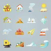 Natural disaster icons flat set with hurricane tornado forest fire isolated vector illustration poster