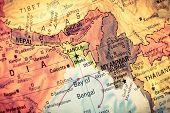Vintage Map Myanmar,Bangladesh,  Close-up macro image of South East Asia  map . Selective focus on Bangladesh  poster