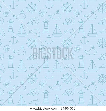 Sea Seamless Pattern. Vector Background.