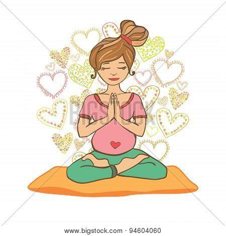 Young woman doing prenatal yoga