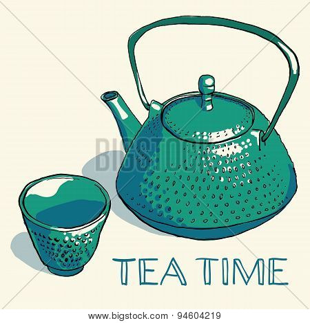 Vector illustration of hand drawn bright sketch of the traditional asian cast iron teapot with small cup with hand written text for your design poster
