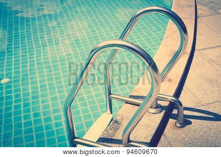 Swimming pool with stairs ( Filtered image processed vintage effect. )
