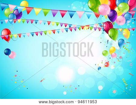 Bright festive background with balloons, flags and confetti for advertising, leaflet, cards, invitation and so on.