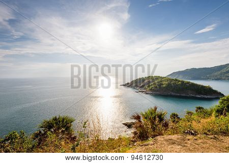 High Angle View Island And Sea At Laem Phromthep Scenic Point