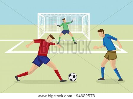 Striker Dribbling Soccer Ball In Penalty Area