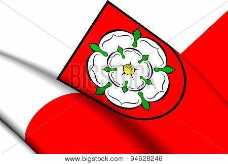 Flag Of Rosenheim, Germany.