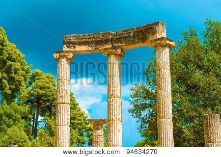 Ruin Of Philipp's Temple In Olympia, Greece