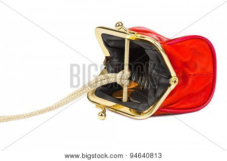 Money trap made of purse isolated on white background