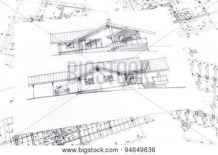 Sketch With Technical Project Drawings