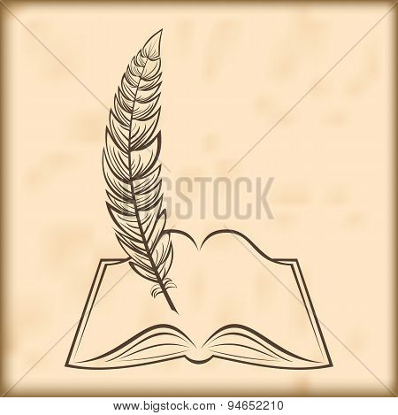 vector open book and feather