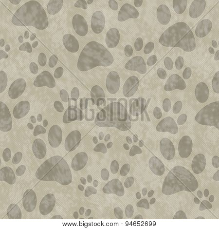 Brown Dog Paw Prints Tile Pattern Repeat Background
