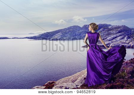 Woman In Purple Dress, Mountains Sea, Waving Gown Flying On Wind, Elegant Girl on Coast