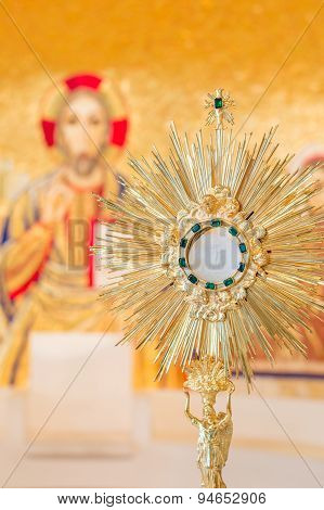 Eucharist adoration monstrance on the altar