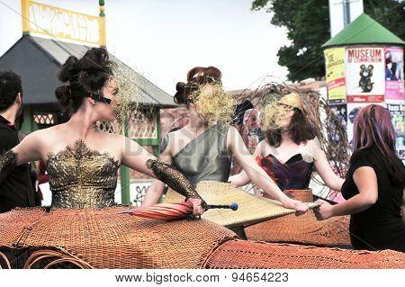 PRAGUE, CZECH REPUBLIC - JUNE 25, 2015: Show of the Chilean costume designer Loreto Monsalve in the Kampa park - Prague Quadriennale 2015