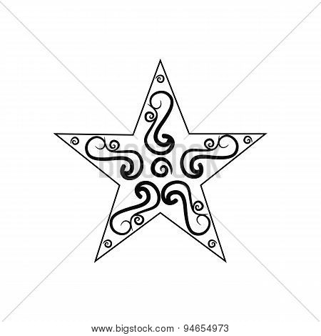 black and white vintage star isolated on white background.