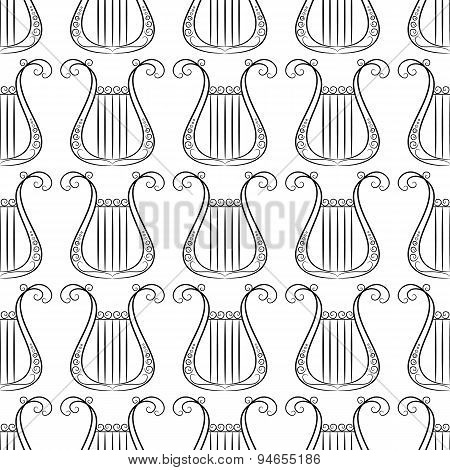 black an white vintage Harp musical instrument seamless pattern for art and entertainment design