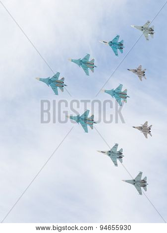Military Aircraft Mig-29 And Sukhoi Flying Pyramid