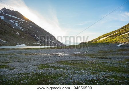 High Altitude Alpine Landscape At Sunset