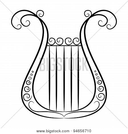 black and white harp on a white background