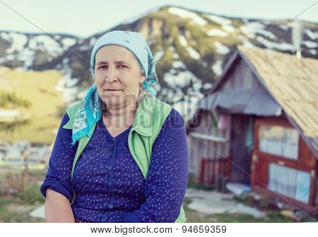 Turkish country woman in traditional clothes