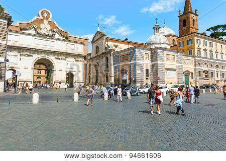 Piazza Del Popolo In Rome, Italy.