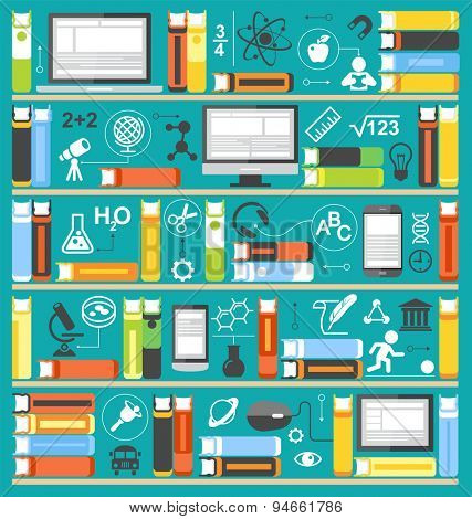 Education background. Computer, phone, tablet, books surrounded by of science icons. Concept  e-learning. Online education idea. This illustration contains a transparency