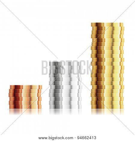 detailed illustration of different coin stacks, eps10 vector