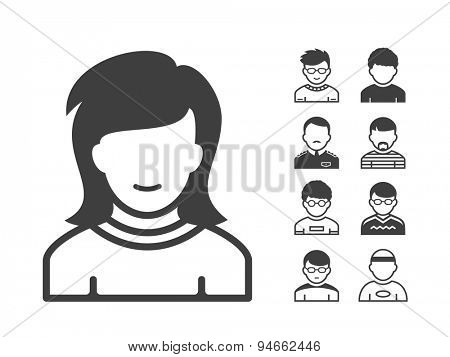 Avatar and user icon set. Occupation and people icons. Vector illustration