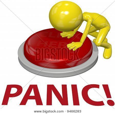 Concepto de persona botón pánico problema