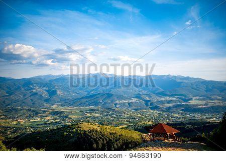 Macedonian sub urban landscape from Vodno mountain near Skopje city poster