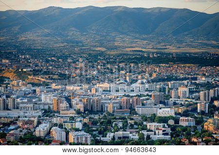 Top view from Vodno mountain on Skopje city in Macedonia on sunset poster
