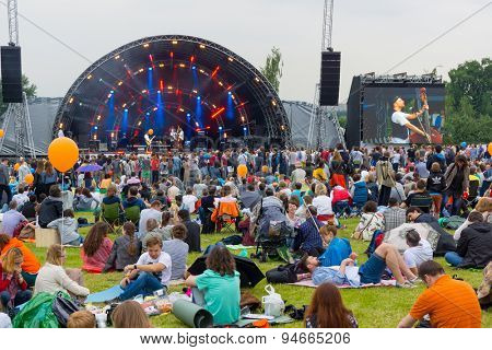 MOSCOW - JUNE 20, 2015: People attend open-air concert on XII International Jazz Festival