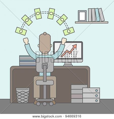 A successful businessman at the office with computer on his table raising his hands. Success concept. Vector flat design Illustration.