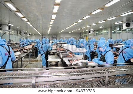 Da Nang, Vietnam - March 6, 2015: Workers Are Working In A Seafood Processing Plant For Exporting Sh