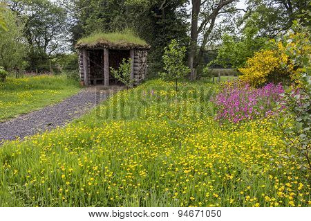 Hut At Kilnford Barns With Wildflowers