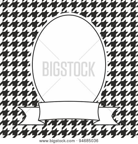 Vector frame on houndstooth black and white background